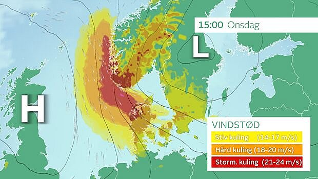 Danmark havner onsdag lige imellem højtryk og lavtryk, det giver kraftig blæst.