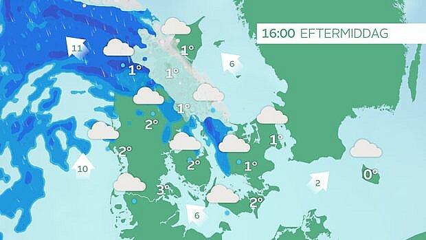 Tirsdag eftermiddag kl. 16. Efterhånden hvid nedbør i Nordjylland.