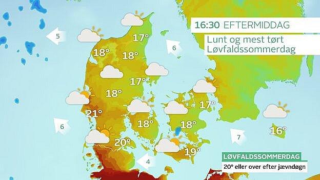 Vejrkort med temperaturer søndag eftermiddag. I den sydlige del af Jylland kan temperaturen nå 21 grader.