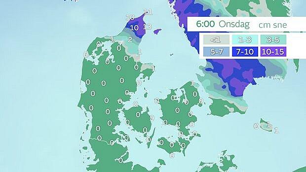 Akkumuleret snemængder onsdag morgen.