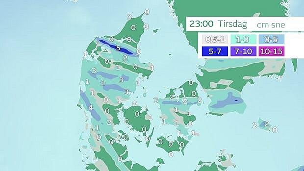 Prognose af samlet mængde sne.
