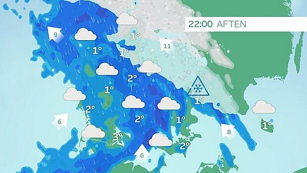 Slud og sne mod nord tirsdag aften. Risiko for isslag.