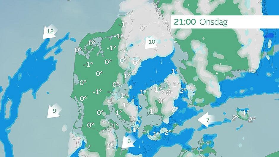 Prognose: Her vil det sne klokken 21.00.
