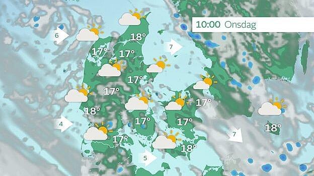 Prognose onsdag klokken 10.00. Nogen sol og kun få byger.