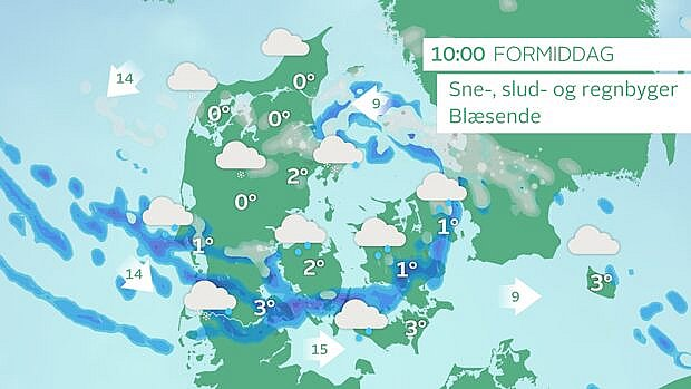Vejrkort onsdag klokken 10. Nedbøren falder som både regn-, slud- og tøsne. Foto: TV 2 VEJRET