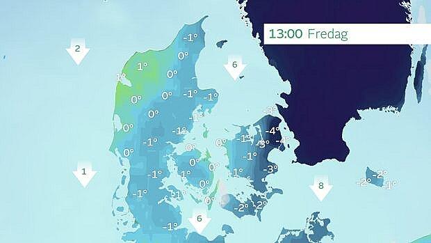 Højeste temperaturer fredag eftermiddag. Der vil være tæt på dagsfrost i hele landet og især i Nordsjælland kan man opleve tre-fire graders frost - midt på dagen.