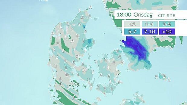 Samlede snemængder frem til onsdag klokken 18. Denne prognose viser 'råt', at der kun kommer et par centimeter. Bemærk dog det mørkeblå område i Sydsverige med over ti centimeter sne. Nogle modeller viser, at det område ender over Sjælland. Foto: TV 2 VEJRET