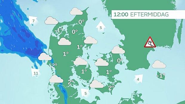 Vejrsituationen tirsdag kl. 12. Regn nærmer sig den jyske vestkyst.