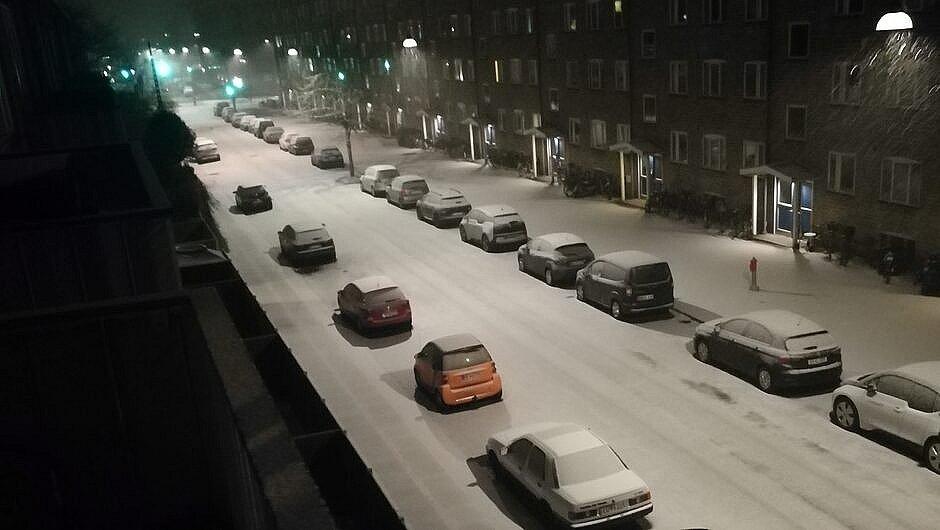 Vintervejr på Amager søndag morgen.